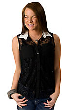 Lovemarks® Women's Black Lace with White Collar Sleeveless Fashion Top