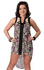 Lovemarks® Women's Cream & Black w/ Geometric Print Sleeveless Hi-Low Tunic