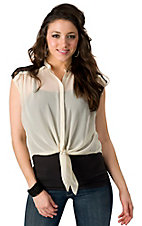 Lovemarks® Women's Ivory with Black Lace Tie Front Sheer Sleeveless Fashion Top
