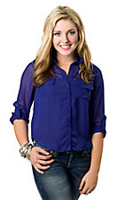 Cotton Express® Junior's Royal Blue Chiffon with Button Down Back 3/4 Sleeve Fashion Top