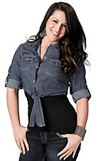 Cotton Express Women's Dark Denim with Pearl Snaps 3/4 Sleeve Cropped Tie Top