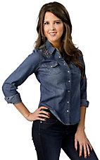 Cotton Express ® Women's Medium Stonewash Denim with Silver Studded Shoulders Long Sleeve Shirt
