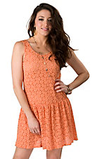 Lovemarks® Women's Coral Floral Lace Drop Waist Sleeveless Dress