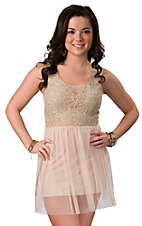 Lovemarks® Women's Cream Tulle Lace Sleeveless Mini Dress