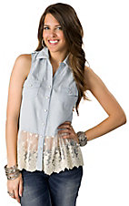 Lovemarks® Women's Light Denim with White Lace Bottom Sleeveless Fashion Top