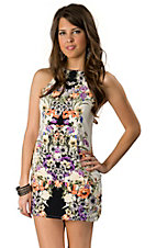 Lovemarks® Women's White with Floral Print Sleeveless Racer Back Dress