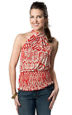 Panhandle Slim® Women's Red and Taupe Smocked Bottom Sleeveless Halter Fashion Top