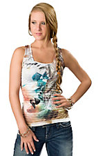 Panhandle Slim® Women's Tan and Turquoise Feather Print with Lace Back Tank