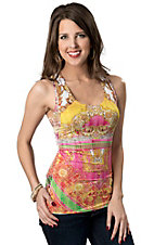 Panhandle Slim® Women's Hot Pink and Yellow Print with Lace Back Tank