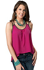 Panhandle Slim® Women's Juniors Pink with Brown Hi-Lo Sleeveless Fashion Top