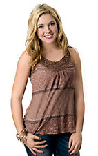 Panhandle Slim® Women's Brown Mesh and Lace Front with Beading Sleeveless Fashion Top