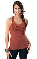Panhandle Slim® Womens Coral with Lace Ruffles Racer Back Sleeveless Fashion Tank Top