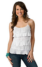 Panhandle Slim® Juniors White Knit and Lace Ruffle Front Spaghetti Strap Tank Fashion Top