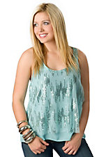 Panhandle Slim® Women's Turquoise Chiffon with Sequins Sleeveless Fashion Top