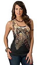 Panhandle Slim® Juniors Brown and Black Feathers and Leopard with Lace Back Sleeveless Tank Fashion Top