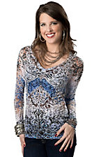 Panhandle Slim® Women's Blue and Black Sublimation with Lace Back Burnout Long Sleeve Tee
