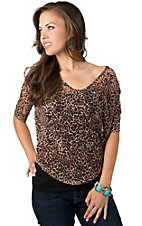 Panhandle Slim® Women's Brown Leopard Print Floral Lace 3/4 Dolman Sleeves Fashion Top