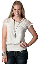 Panhandle Slim® Ladies White Lace Cap Sleeve Peasant Top
