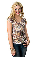 Panhandle Slim® Women's Yellow and Brown Animal Print with Lace Back Burnout Short Sleeve Tee