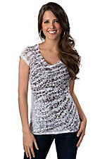 Panhandle Slim® Women's White and Leopard Print with Lace Back Burnout Short Sleeve Tee