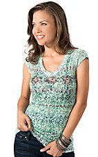 Panhandle Slim® Women's Green Aztec Print with Lace Back Burnout Short Sleeve Tee