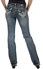 Grace in LA® Women's Vintage Scroll Embroidery w/ Crystals Flap Pocket Boot Cut Jean