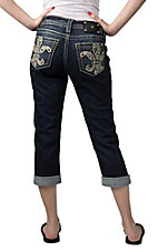 Miss Me® Womens Dark Wash Paisley Fleur with Crystals Open Pocket Cuffed Boyfriend Capri Jeans