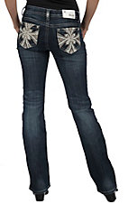 Grace in LA® Women's White & Pewter Maltese Leather Cross with Crystals Open Pocket Boot Cut Jean