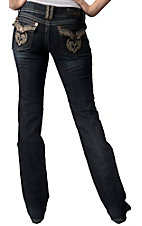 Grace in LA® Women's Tan Tribal and Crystals Flap Pocket Boot Cut Jean