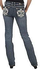 Grace in LA® Women's White Leather Fleur De Lis w/ Crystals Flap Pocket Boot Cut Jean