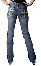 Grace in LA® Women's White Leather Cross with Embroidery and Crystals Open Pocket Boot Cut Jean