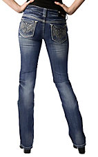 Grace in LA® Women's White with and Silver Embroidery with Crystals Open Pocket Boot Cut Jean