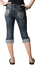 Grace in LA® Women's Embroidered Winged Cross and Crystals Open Pocket Cuffed Denim Capris