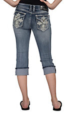 Grace in LA® Women's Cream Leather Maltese Cross w/ Embroidery & Crystal Flap Pocket Cuffed Capri