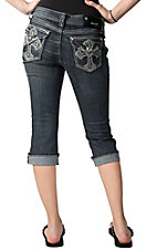 Grace in LA® Women's Silver Embroidered Cross and Crystals Flap Pocket Cuffed Denim Capris