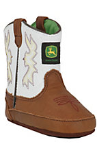 John Deere® Johnny Popper™ Distressed Brown w/ White Top Infant Bootie
