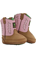 John Deere® Johnny Popper™ Distressed Brown Suede w/ Pink Top Infant Bootie