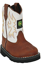 John Deere® Johnny Popper™ Infant Dark Distressed Brown w/ White Top Crepe Sole Boots