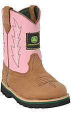 John Deere® Johnny Popper™ Infant Distressed Brown w/ Pink Top Rubber Sole Boots