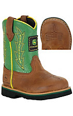 John Deere® Johnny Popper™ Infant Distressed Brown w/ Green Top Rubber Sole Boots
