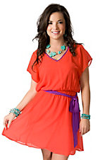 Flying Tomato® Women's Orange with Plum Purple V-Neck Tie Short Sleeve Sheer Dress
