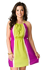Flying Tomato® Women's Fuschia and Lime Spaghetti Strap Halter Top Dress