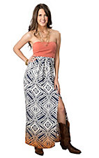 Jealous Tomato® Women's Dusty Coral with Blue and Orange Ikat Ombre Strapless Maxi Dress