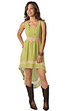 Jealous Tomato® Women's Lime Green with Tan Lace Sleeveless Hi-Lo Dress
