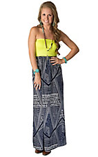 Karlie Women's Neon Yellow with Navy and White Strapless Maxi Dress