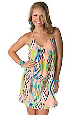 Karlie Women's Peach with Aztec Print Tank Dress