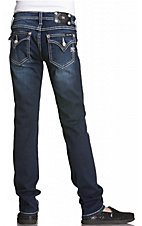 Miss Me® Girls' Medium Wash w/ Two-Tone Thread Flap Pocket Jegging