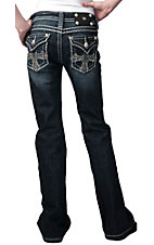 Miss Me® Girls Crystals & Studded Cross Flap Pocket Boot Cut Jean