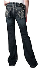 Miss Me® Girls' Crystal Zebra Fleur De Lis Boot Cut Jean