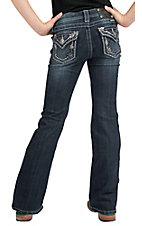 Miss Me® Girls' Silver Floral Leather & Embroidery w/ Crystals Flap Pocket Boot Cut Jean